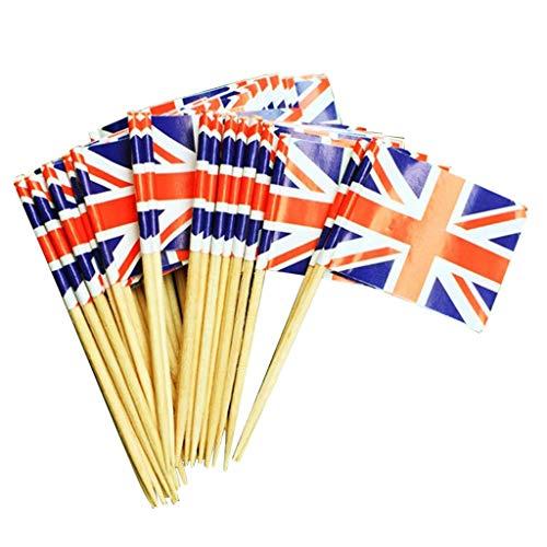 100Pcs UK Flag Picks for Sandwiches Appetizers Cupcake Toppers Decor Baking Dessert -