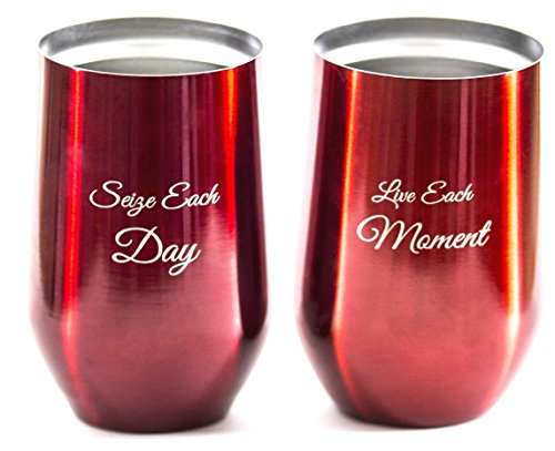 Outdoor Vacuum Insulated Wine Glasses with Lids (Set of 2) 16oz Stainless Steel Tumblers, Stemless Double Wall Metal Cups for Travel, Camping, Coffee, Ice Cream. Unbreakable, Sweat Free, BPA Free Engraved Red Wine