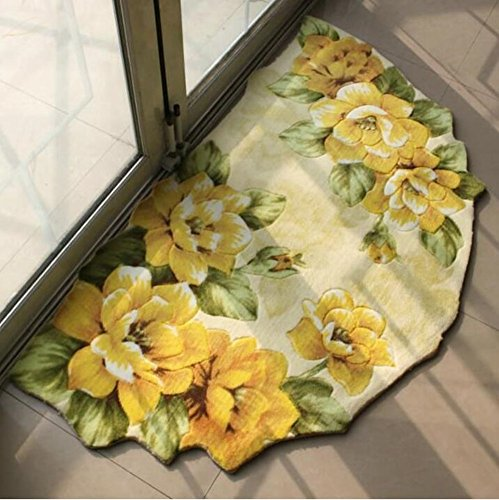 Judy Dre am Semi-circular Living Room Rug/Rural Style Flower Design Area Rug/Bath Mat Shower Rug Bedroom Carpet Floor Mats (22″X33″, Yellow)