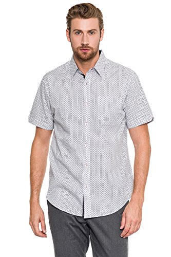 Woody's Retro Lounge Mens Short Sleeve Pattern Printed Button Front Closure Shirt 015-WHITE XL (Woody Button)