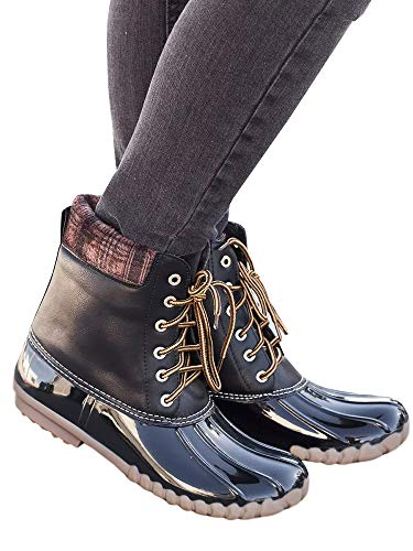 black Mid Snow Up Womens Waterproof Winter Boots Combat 1 Rain Lace Boots Syktkmx Duck Calf Ankle RqHZw1