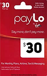 Virgin Mobile Paylo Top Up $30 Gift Card