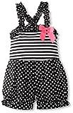 Rare Editions Girls 2-6X Knit Romper, Black/White, 4T image