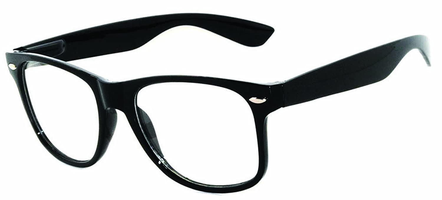 7f54bc7a4dbd Retro black frame clear lens glasses clothing jpg 1500x679 Glasses from the  80s