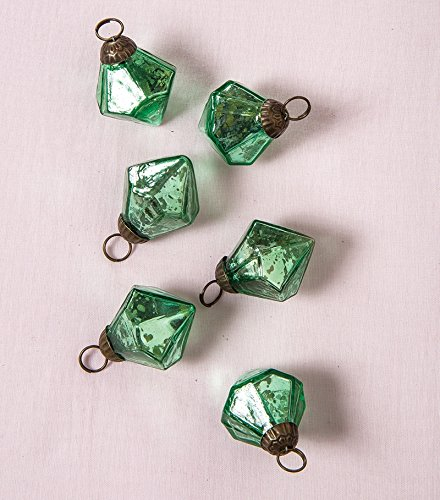 Christmas Tablescape Décor - Vintage style green Elizabeth mini mercury glass ornaments - Set of 6