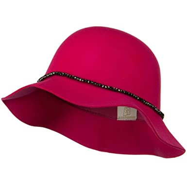 f3067f5f0cc Short Brim Floppy Hat with Bead Band - Fuschia OSFM at Amazon ...