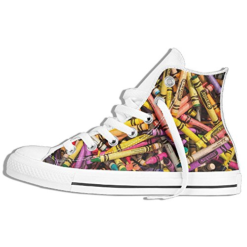 Classic High Top Sneakers Canvas Shoes Anti-Skid Colorful Crayon Casual Walking For Men Women White POzic