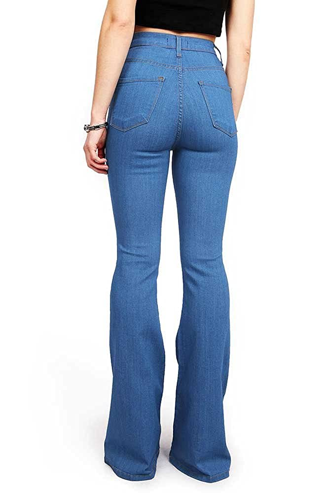 1c97a5ca5 Vibrant Women's Juniors Bell Bottom High Waist Fitted Denim Jeans at Amazon  Women's Jeans store