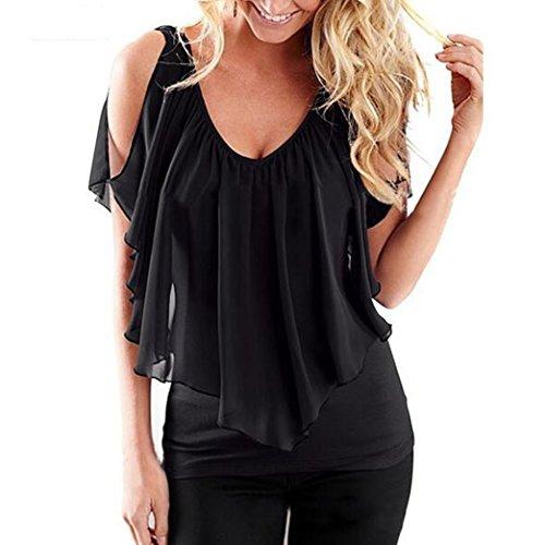 shirt Chemisiers Femme Chemise t Chiffon Noir Haut Yeesea T Blouse Manches Shoulder Off zffxS