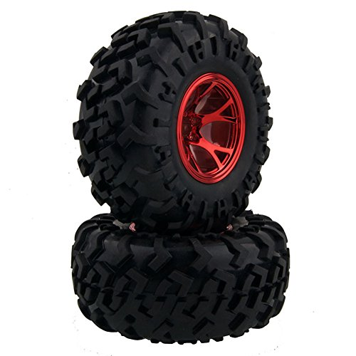 LAFEINA 4PCS 1/10 RC Monster Truck Wheel and Tire Set, Rubber Tyres and Red Plastic Wheels for Traxxas HIMOTO HSP HPI Tamiya Kyosho Monster Bigfoot Truck