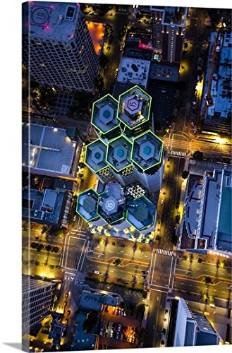 Copter Pilot Premium Thick-Wrap Canvas Wall Art Print entitled Aerial view of Emerald Plaza, San Diego, at night - Plaza Diego Las Americas San