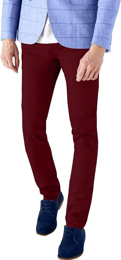 F.S.A. Pantalones Chinos para Hombre, elásticos, Ajustados, de ...