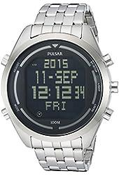 Pulsar Men's PQ2043 Digital Silver-Tone Stainless Steel Watch