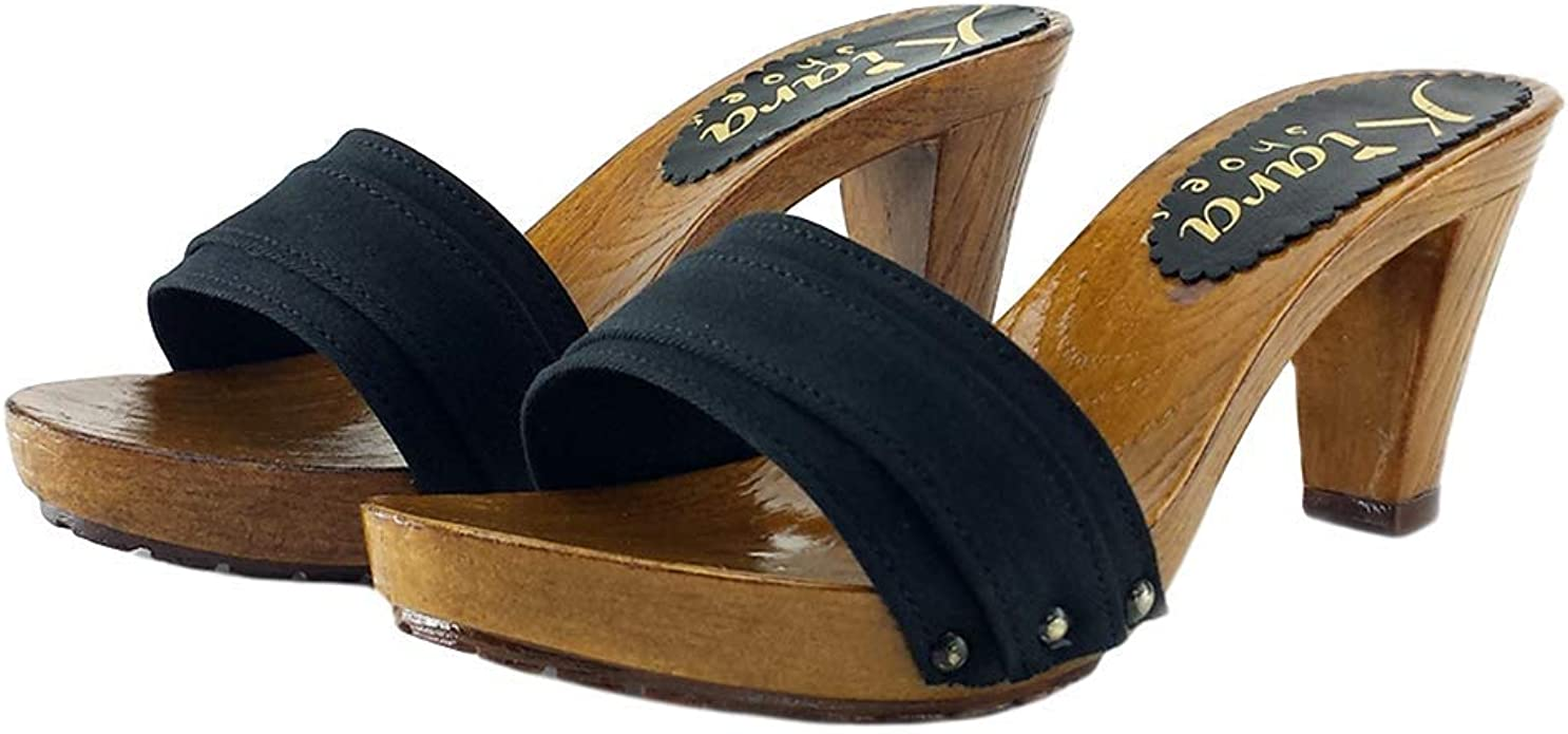 comfortable black clogs heel 8 K5501 NERO