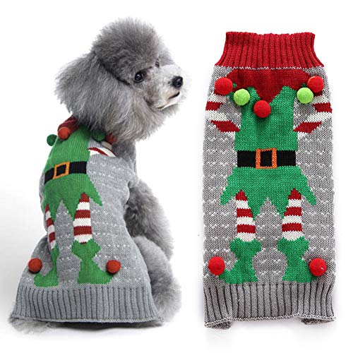 DOGGYZSTYLE Ugly Dog Sweaters for Christmas Pet Cat Clothes Xmas Elf Design Holiday Festive Puppy Jumpers Apparel