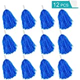 Faxco 12Pack Plastic Pom Poms Cheerleading Pom Poms Sports Dance Cheer Plastic Pom Pom for Rooters,Cheering Squard,Cheering Team