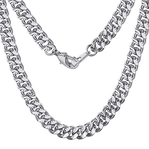 ChainsHouse Men Boys 7mm Wide Platinum Plated Hip Hop Rock Punk Style Link Curb Chain Miami Cuban Necklace, Women Jewelry, Box, 26