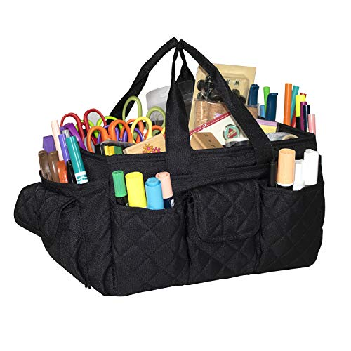 (Everything Mary Black Quilted Caddy Storage Craft Bag Organizer for Crafts, Sewing, Paper, Art, Desk, Canvas, Supplies Storage Organization with Handles for Travel)
