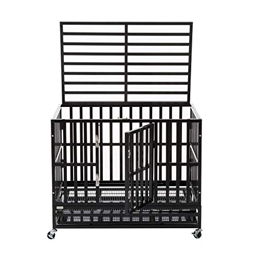 Aussie Mallet - Sliverylake Heavy Duty Metal Dog Crate Cage Pet Kennel Playpen Exercise w/Wheels Tray - New Type Square Tube (37'')