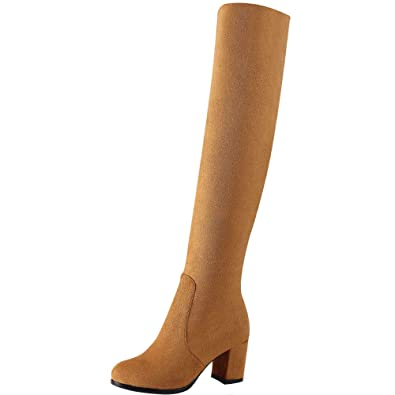 3558d372bcb93 RAZAMAZA Schuhe Damen Over Knee Boots Stiefel Reißverschluss: Amazon ...