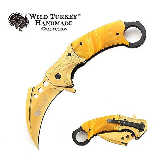 (Wild Turkey Handmade Heavy Duty Hawk Bill Designed Karambit Spring Assisted Knife Hunting Camping Fishing Outdoors Lightning Fast Deployment - Razor Sharp Blade (Gold))