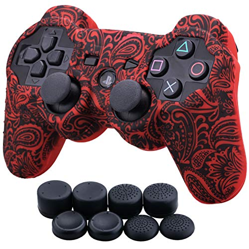 Ps3 Controller Skin - 9CDeer 1 Piece of Silicone Water Transfer Protective Sleeve Case Cover Skin + 8 Thumb Grips Analog Caps for PS3 Controller, Leaves Red