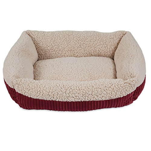 Aspen Pet 80136 Self Warming Rectangular Lounger for Pets, 24 by 20-Inch, Warm Spice with Creme
