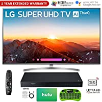 LG 65 Class 4K HDR Smart AI Super UHD TV w/ThinQ 2018 Model (65SK8000PUA) with UHD Blu-Ray Player, 1 Year Extended Warranty, 75 Gift Card, 6-Outlet Surge Adapter, HDMI Cable & Wireless Keyboard