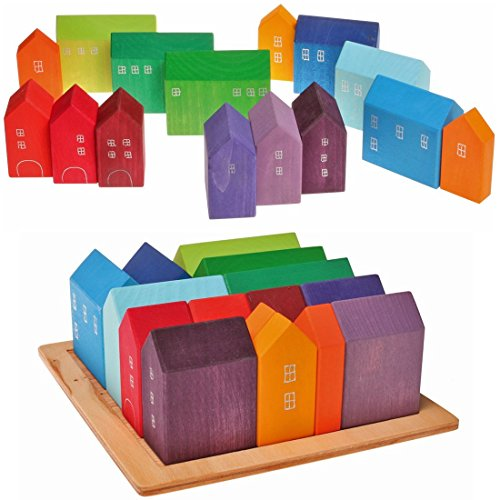 Grimm's Wooden City & Town Waldorf Building Blocks Set, Village of Small Houses (Set Small Village)