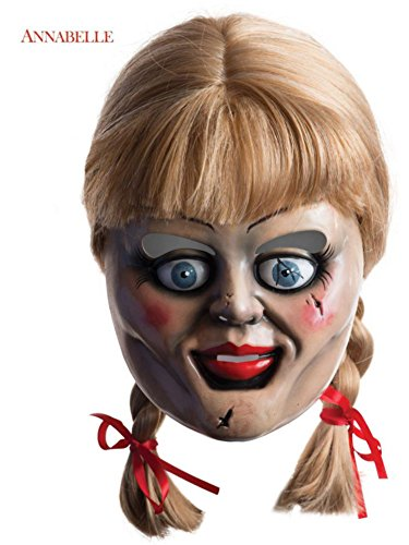 Annabelle Horror Mask with Wig, Multi, One Size (Wig Halloween Costume Mask)