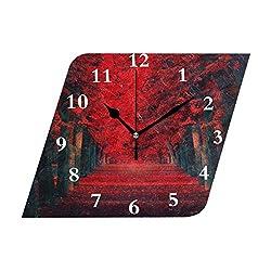 HangWang Wall Clock Red Leaves Road Silent Non Ticking Decorative Diamond Digital Clocks Indoor Outdoor Kitchen Bedroom Living Room
