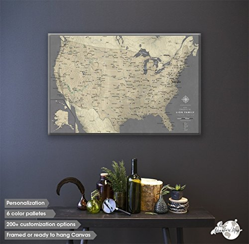 United States push pin travel map canvas - United States Travel Map
