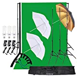 Andoer Photo Studio Lighting Kit 3pcs 45W Light Bulb with Muslin Backdrop(White & Green & Black), 200cm Stand kit, 32in Softbox Set for Video Studio Shooting Product/Portrait Photography