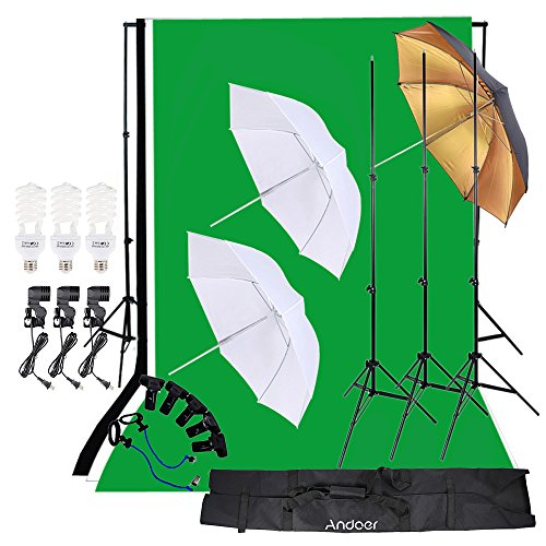 Andoer Photo Studio Lighting Kit 3pcs 45W Light Bulb with Muslin Backdrop(White & Green & Black), 200cm Stand kit, 32in Softbox Set for Video Studio Shooting Product/Portrait Photography by Andoer