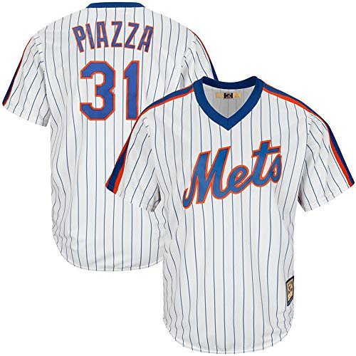 Mens #31 Mike Piazza New York Mets Big & Tall Cooperstown Collection Cool Base Player Jersey - White Royal XXL
