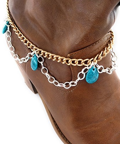 Turquoise Mixed Metal Scalloped Boot Bracelet Chain (Scalloped Concho)