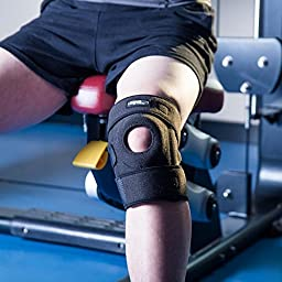 Knee Brace Support - Adjustable Open Patella Stabilizer Protector for Arthritis, ACL, MCL, Meniscus Tear, Running, Basketball, Sports, Athletic - Single