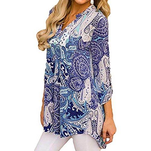 Femmes Tops Courtes Print MuSheng Shirt Blouses T Manches Split V Bleu Manches Shirt Neck Casual Floral d0FB07