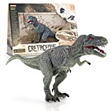 KidzLand toys Steam Great Learning Dinosaur Figures : Realistic Tyrannosaurus Rex Animal Figure with Moving Parts Plus Fact Card & Dino Stickers, Collect Them