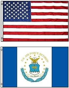3'x5' US AMERICAN nailon y nosotros Airforce retirado todavía servir poliéster banderas