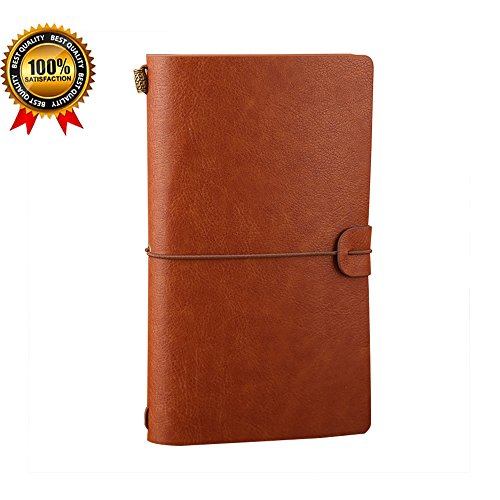 WausauVan Leather Notebook Journal Diary,Travel Journal,Refillable Vintage Journals to Write in for Men and Women,Classic Retro Style,Perfect for Travelers,Fountain Pen Users,8 x - Traveler Leather Brown