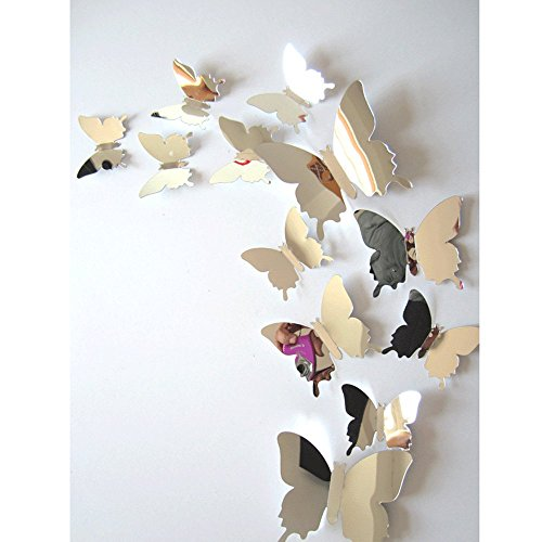Fullkang 12 pcs Decal Butterflies 3D Mirror Wall Stickers Wall Art Home Decors (Silver)