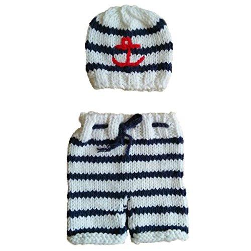 Jastore Photography Prop Baby Crochet Navy Stripe Costume Hat Pants (Old Navy Newborn)
