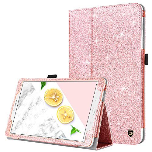 Case for Samsung Galaxy Tab E 9.6, DUEDUE Sparkly Glitter Slim Faux Leather Folio Stand Full Body Protective Cover for Galaxy Tab E Wi-Fi/Tab E Nook 9.6 Inch Tablet SM-T560/T561/T565/T567V,Rose Gold