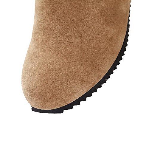Medio Donna AgeeMi Media Punta Tirare Stivali chiaro Chiusa Altezza Puro Shoes Tacco Marrone Xw5qHp