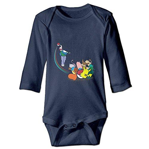 Alexx Pokebowl Baby Boy Girl Jumpsuit Bodysuit Long-sleeve Playsuit Navy 6 M
