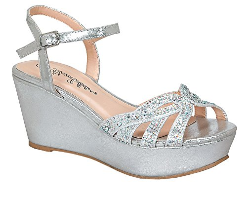Blsm Women's Ori-2 Open Toe Ankle Strap Dress Shoes - High Platform Strappy Sandal Silver 7 Strappy Ankle Strap Platform Sandal