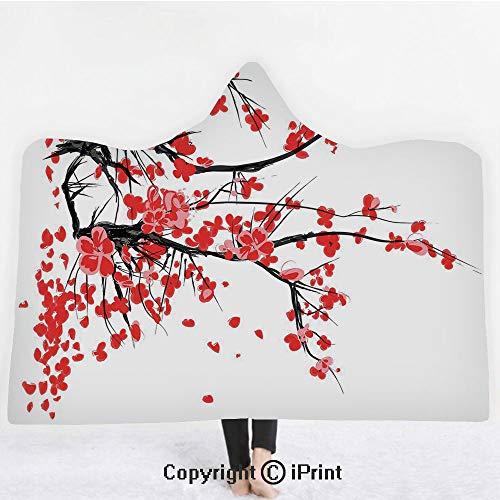 Floral 3D Print Soft Hooded Blanket Boys Girls Premium Throw Blanket,Japanese Cherry Blossom Sakura Blooms Branch Spring Inspirations Print Decorative,Lightweight Microfiber(Kids 50