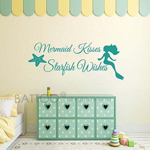 BATTOO Mermaid Wall Decal Quote - Mermaid Kisses Starfish Wishes - Girls Room Baby Crib Wall Decal Sticker Vinyl Wall Art(18.5