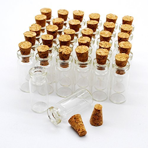 50pcs 0.7ml Small Mini Glass Bottles Jars with Cork Stoppers/ Message Weddings Wish Jewelry Party Favors/ - Size: Small Mini Glass Bottles Jars with Cork Stoppers/ Message Weddings Wish Jewelry Party Favors (50)